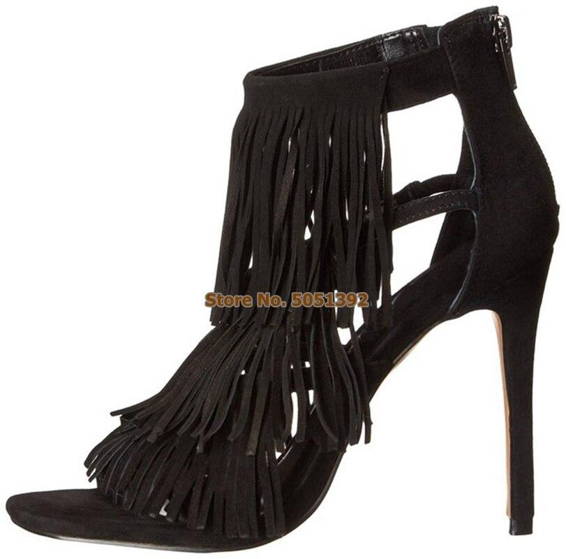 Frauen High Heel Sommer Sandalen Fringe Wildleder Stiefeletten Peep Toe Quaste Nubuk Stiletto Mode Booties Große Größe - 2