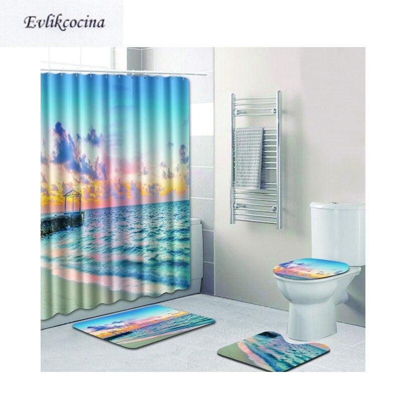 Free Shipping 4pcs Nightfall Beach Banyo Bathroom Carpet Toilet Bath Mats  Set Non Slip Pad Tapis Salle De Bain Alfombra Bano
