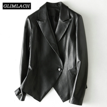 New Irregular Length Design Women Leather Blazer Jackets Korean Slim Genuine Real Sheep Leather Suits Coats Office Lady Clothes
