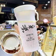 Конфеты цвета бутылка с ручкой воды Небьющийся матовый герметичный пластиковый чайник 350 мл BPA бесплатно портативная бутылка для воды
