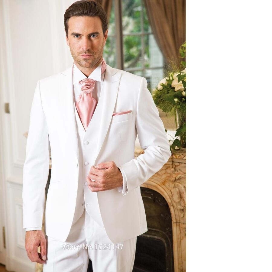 New Arrival White Wedding Suits For Men Ivory Mens Suits Peaked Lapel Grooms Tuxedos Three Piece Groomsmen Suit