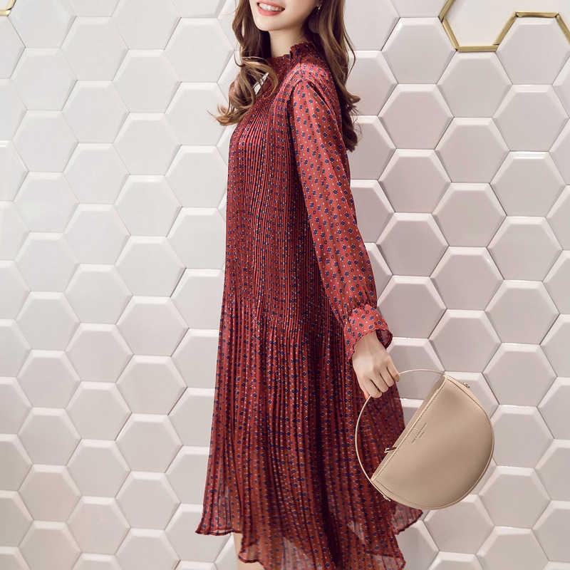 2018 Fashion Floral Pleated Chiffon Dress Spring Large Size Women's Casual Long Sleeve Turtleneck Dress Midi Vestidos Femme Z531