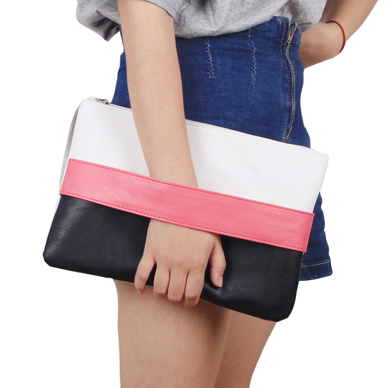 New Women Daily Clutches Handbag Soft Leather Zipper Bag Candy Color Ladies Casual Patchwork Wristlet Clutch Bolsa Feminina