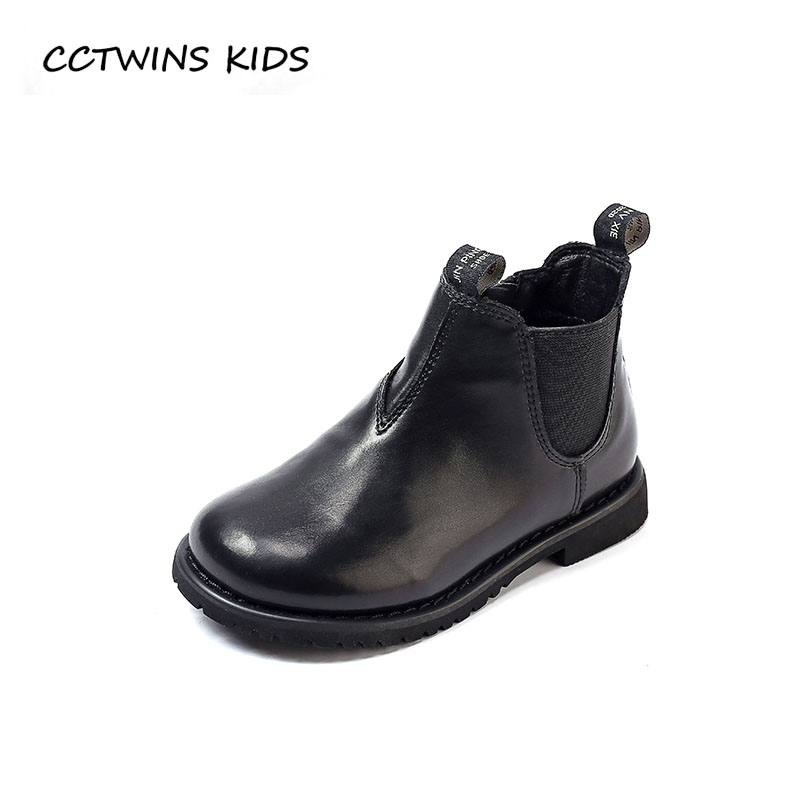 CCTWINS KIDS 2018 Winter Children Genuine Leather Shoe Baby Girl Fashion Ankle Boot Boy Brand Black Boot Toddler CF1506