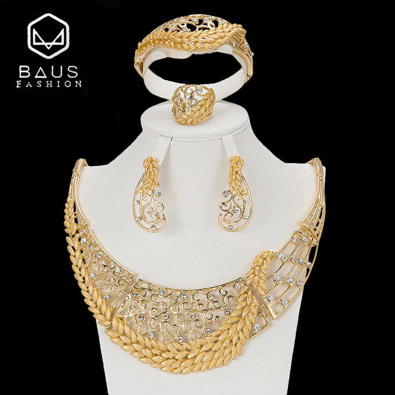 BAUS 2018 Exquisite Dubai Gold Color Jewelry Set Luxury Big Nigerian Wedding African Beads Jewelry Set Wholesale design