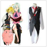 Anime The Seven Deadly Sins Cosplay Costume Meliodas Dragon's Sin of Wrath Shirt+Vest+Pants+Tie Full Set Uniforms