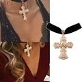 Bijoux choker vintage mujeres de color oro cruz colgante de collar de terciopelo negro accesorios sexy corta steampunk goth collar