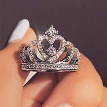 Fashion Silver Rings Crystal Heart Rings Women's Crown Zircon Ring Jewelry Women's Engagement Party Wholesale(China)