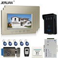 JERUAN 7 inch LCD Video Intercom Door Phone System + 3 monitors + Waterproof  RFID Access Camera+Remote + power + Electric lock