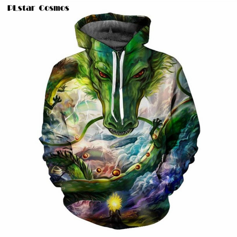 PLstar Cosmos Summon God Dragon 3D Printed Hoodies Men Anime Sweatshirt Dragon Ball Z Hooded Sweats Tops Harajuku Style Pullover