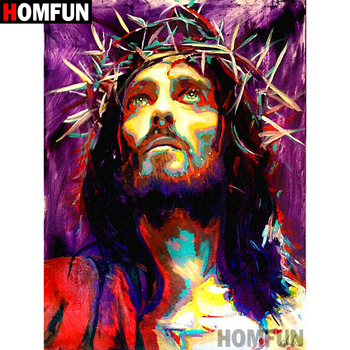 HOMFUN 5D DIY Diamond Painting Full Square/Round Drill Religious Jesus Embroidery Cross Stitch gift Home Decor Gift A09041