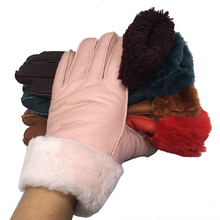Women winter leather gloves Real Fur New Warm Gloves Female Ladies Genuine Leather Mittens Thicken Fashion Outdoor G56