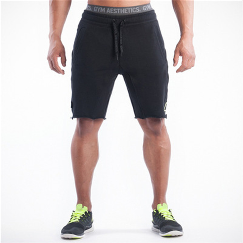 2016 New Golds Clothing Mens Skinny Shorts Fitness Shorts Men Bodybuilding Casual Shorts black Grey