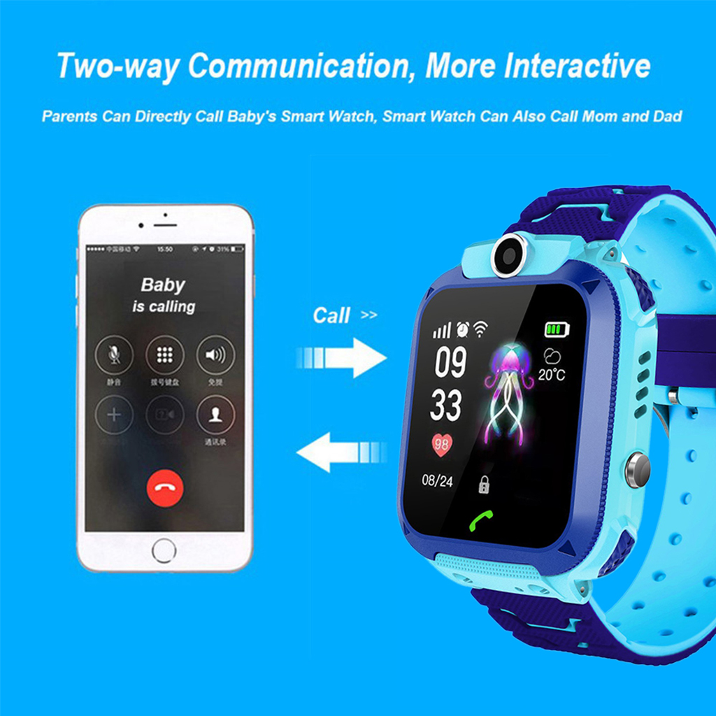Image 2 - DS88 Kids Smart Watch Children Phone Watch IXP7 Waterproof SOS Call Monitor Touch Screen Anti Lost School Student Smart Watch-in Smart Watches from Consumer Electronics