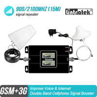 Lintratek 3g 2g 900 2100 LCD Double Band Mobile Signal Booster GSM 900mhz WCDMA UMTS 2100mhz Repeater Cellular Amplifier #7+1