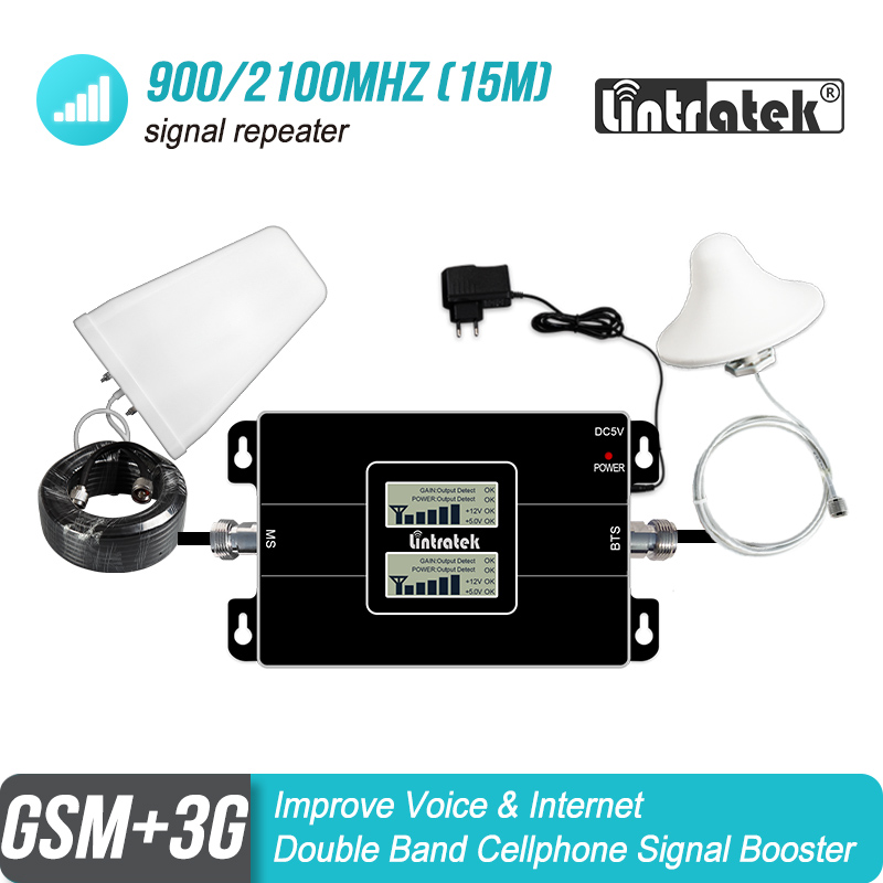 Mobile Signal Booster Lintratek 3g 2g 900 2100 LCD Double Band GSM 900mhz WCDMA UMTS 2100mhz Repeater Cellular Amplifier#40