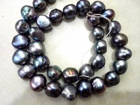 One Strands Real Pearl Bead 12mm Black Color Pearl Baroque Natural Freshwater Pearl loose beads 35cm / 15inch