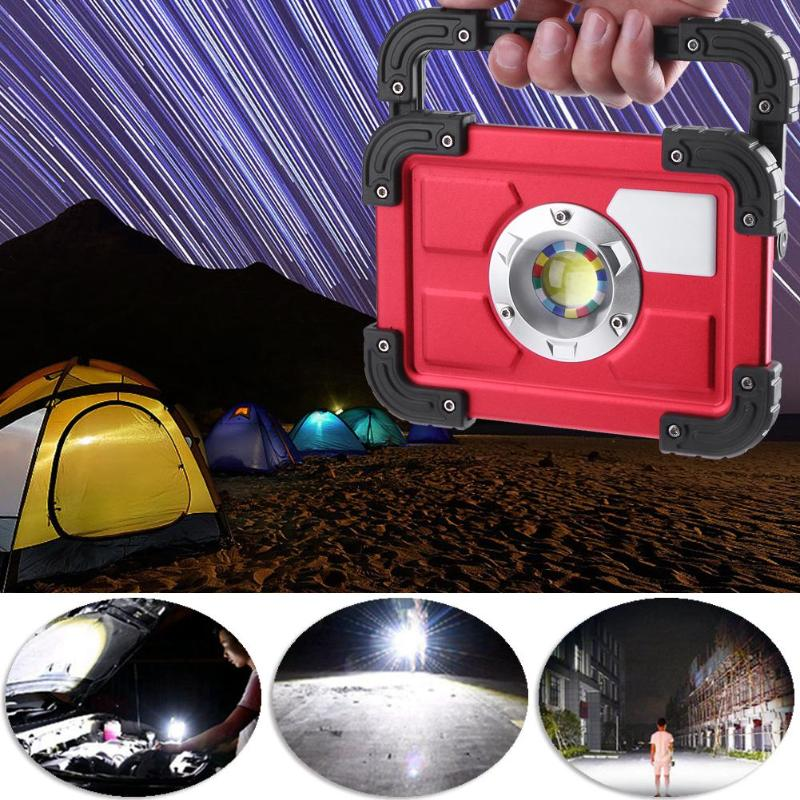 Portable 20W COB LED Waterproof Searchlight Work Lamp Camping Outdoors USB Rechargeable 18650 Battery Floodlight