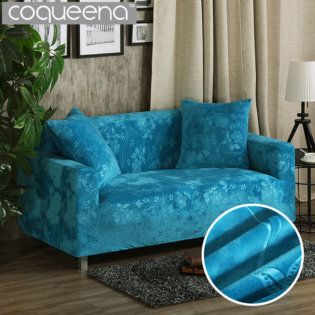 Luxury Embossing Velvet Sofa Covers Universal Stretch Couch Slipcovers Sectional Furniture Protector Teal Turquoise