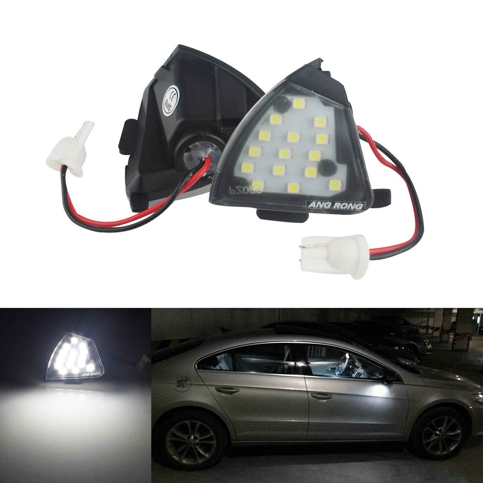 1 Pair White LED Under Side Mirror Puddle Lights For VW EOS GTi Jetta Passat