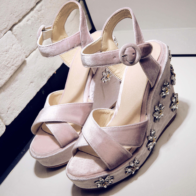 Choudory Ankle Strap Sandals Girls Sweet Platform Rhinestone Wedges Jeweled High Heels Shoes Woman Gladiator Flock Cutouts