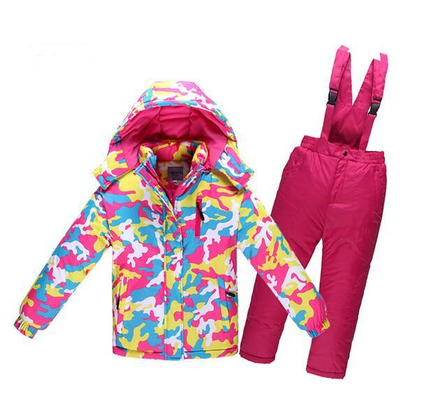 For -30 Degree Winter Warm Windproof Children Ski Suit For Boy Girl Kids Camouflage Ski jacket Pant Waterproof clothing set HX01