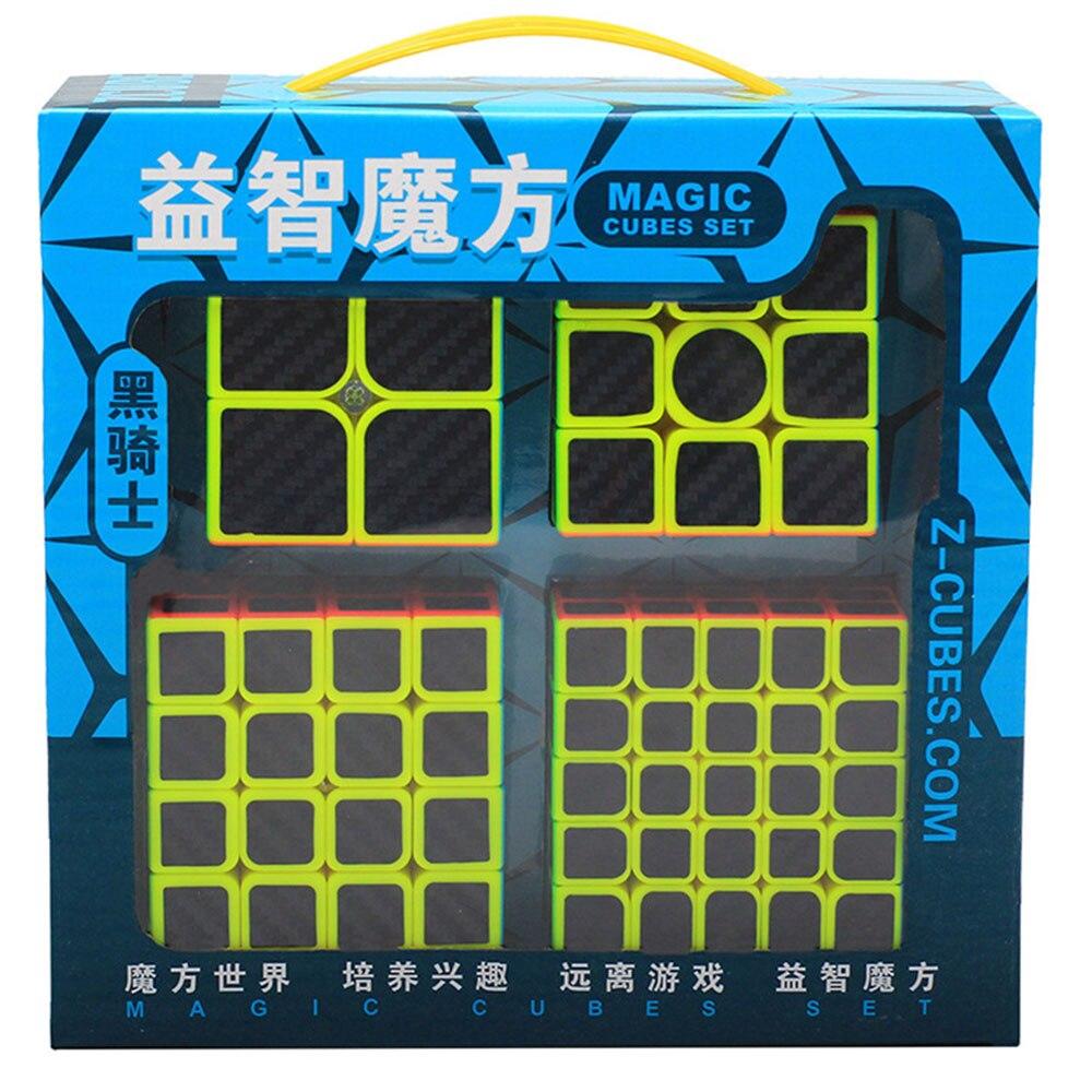 4 pièces Zcube Cube chevalier noir Set 2x2x2 3x3x3 4x4x4 Cubes magiques Puzzle Speed Cube jouets éducatifs cadeau pour enfants enfants - 4