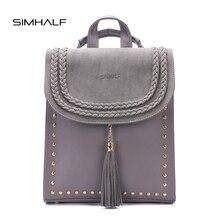 Simhalf старинные заклепки кожаный рюкзак сумки женские модные ботильоны с кисточками туристические рюкзаки для девочек женские школьные сумки рюкзак Mochilas
