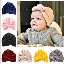 1 יחידות 2018 חדש Bebe בנות בני קטיפה קשתות טורבן ארנב אוזן קשר כובע כפת כובע מוסלמי הודו כובע בוהמי bowknot טורבנים כובע
