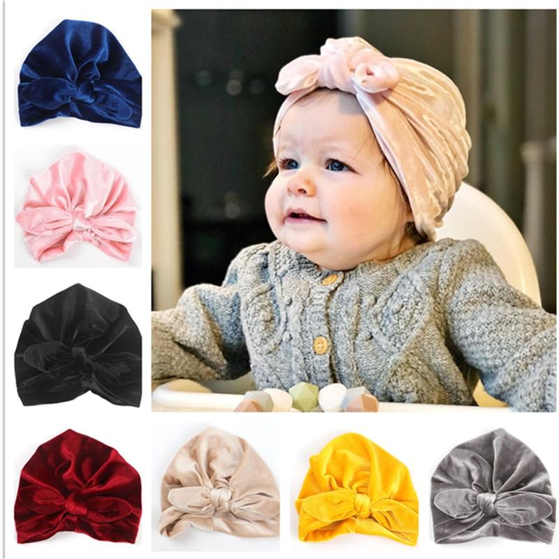 Detail Feedback Questions about 1pcs 2018 New Bebe Girls Boys Velvet bows Turban  Rabbit Ear Knot Cap Beanie Hat Muslim India Hat Bohemian bowknot turbans ... d902baf9e9fe