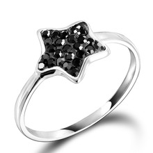 New style! Dormith Free Shipping 925 Sterling Silver Fashion Black Star Czech Diamond Rings with  tail rings