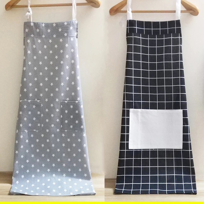 Dressing Fashionable And Lovely Home Work Clothes The Kitchen Apron 100% Original New Long Sleeve Adult Cotton Apron Anti Oil Anti