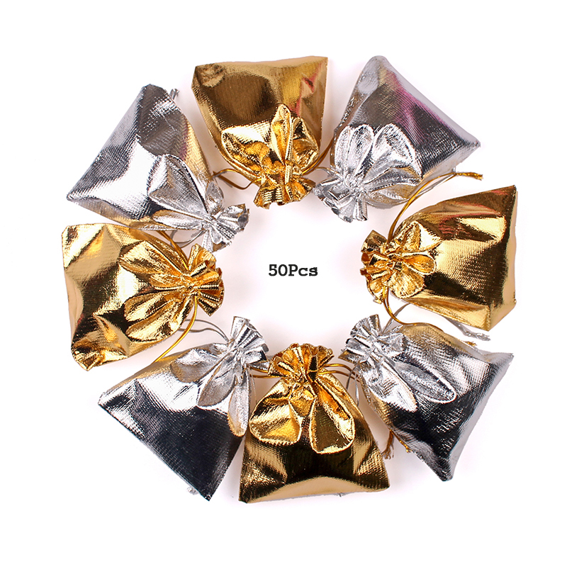 50Pcs/lot 7x9 9x12cm 10x15 13x18cm Golden And Silver Drawstring Wedding Gift Bags Jewelry Packing Bag Drawstring Velvet Bag