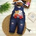 Bebé niños niñas niños niños Roupas Cartoon oso conejo de mezclilla pantalones largos pantalones Casual trajes mamelucos S1986