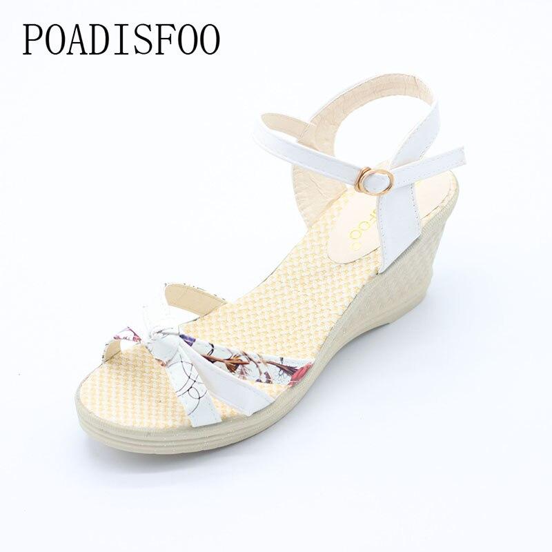 [Classic]2017 Women Platform Sandals Wedges Metal Button Sandals Buckle Strap Weave Thick Bottom Shoes Plus Size 35~41 .lx-043 1