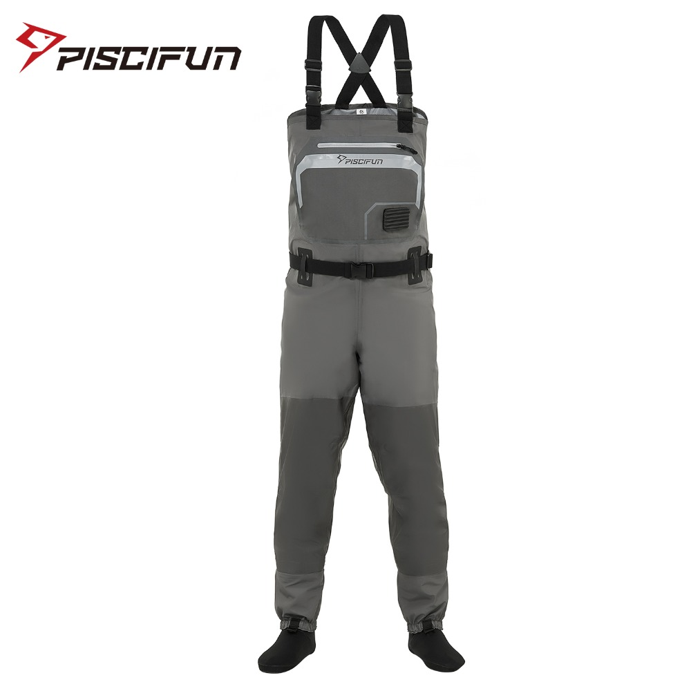 Piscifun 3-Layer Polyester Breathable Waterproof Stocking Foot Fly Fishing Chest Waders Pant for Men and Women with Phone Case