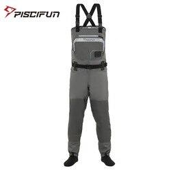 Piscifun 3-Layer البوليستر تنفس مقاوم للماء تخزين القدم يطير الصيد بدلات واقية للصدر بانت للرجال والنساء مع جراب هاتف