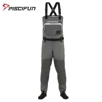 Piscifun 3-Layer Polyester Breathable Waterproof Stocking Foot Fly Fishing Chest Waders Pant for Men and Women with Phone Case - DISCOUNT ITEM  49% OFF All Category