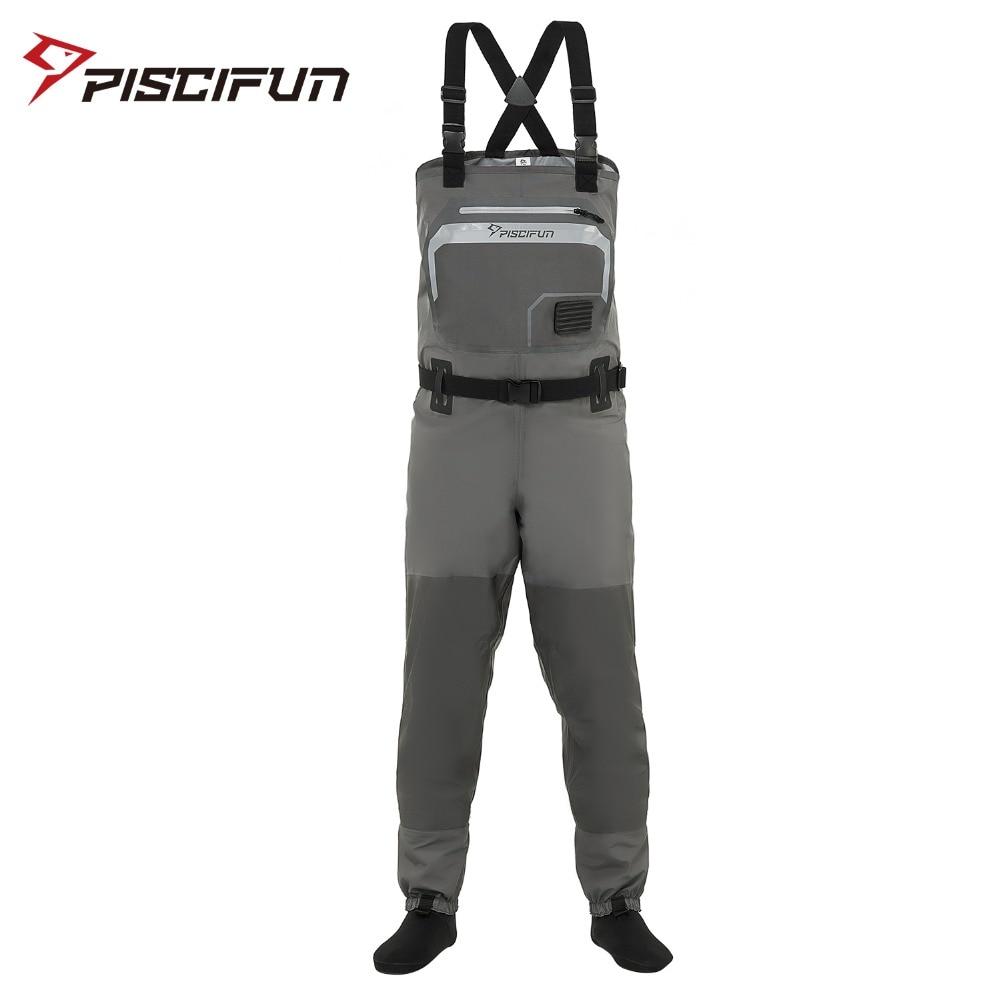 Piscifun 3 couches Polyester respirant imperméable bas pied mouche pêche poitrine cuissardes pantalon pour hommes et femmes avec coque de téléphone