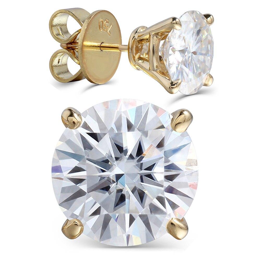 Transgems De Luxe Grande Taille 18 K 750 Jaune or 6CTW ou 4CTW F Couleur Clair Moissanite Boucles D'oreilles pour les Femmes bijoux de mariage