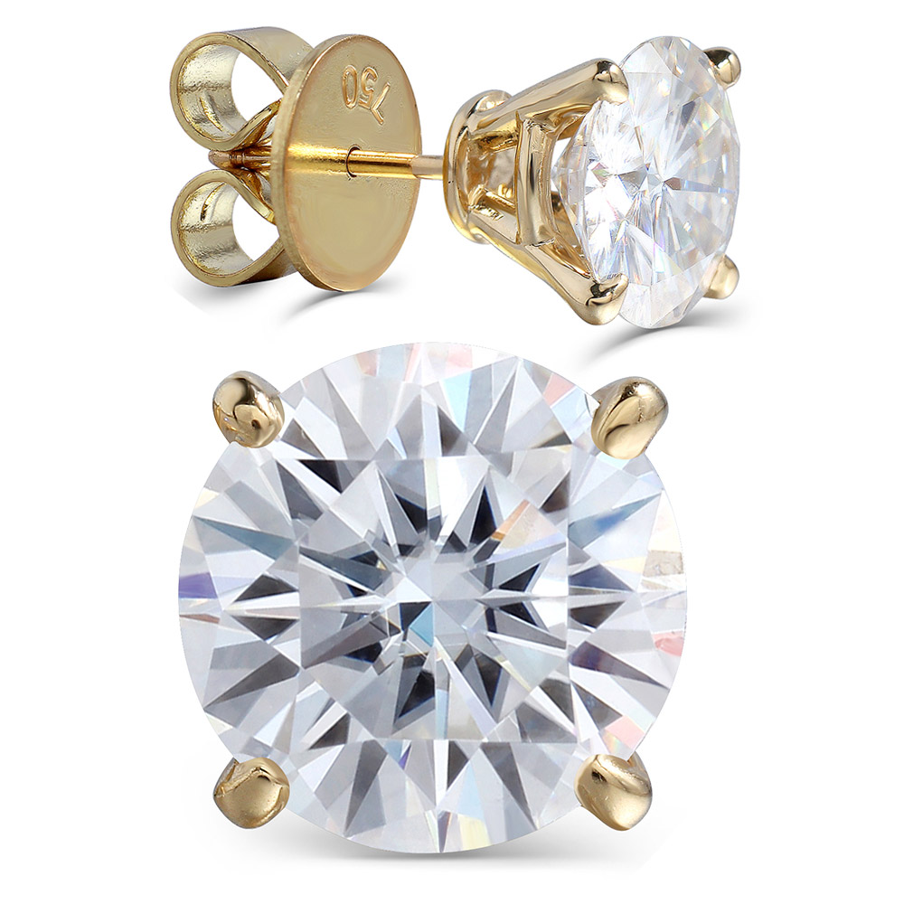 Transgems Luxury Big Size 18K 750 Yellow Gold 6CTW or 4CTW F Color Clear Moissanite Stud Earrings for Women Wedding Jewelry    -