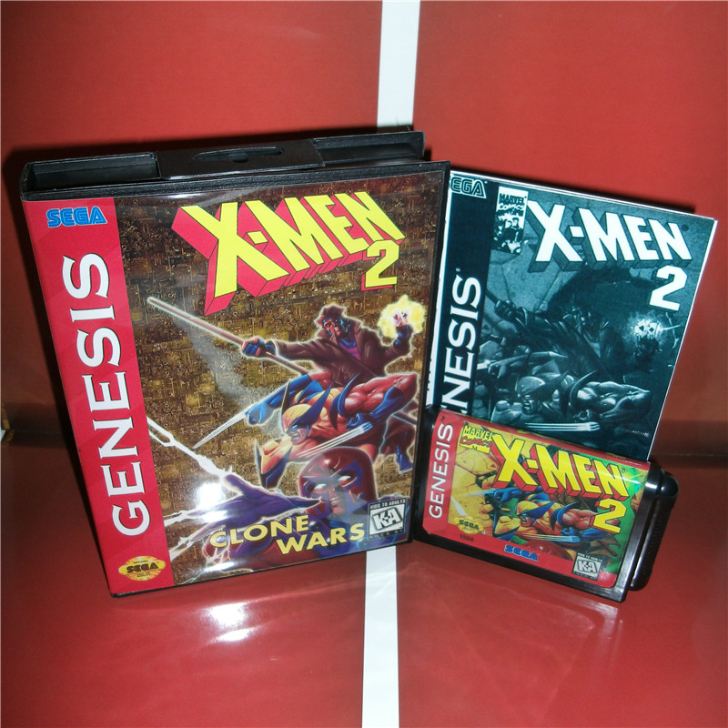 X-Man 2 US Cover with Box and Manual For Sega Megadrive Genesis Video Game Console 16 bit MD card
