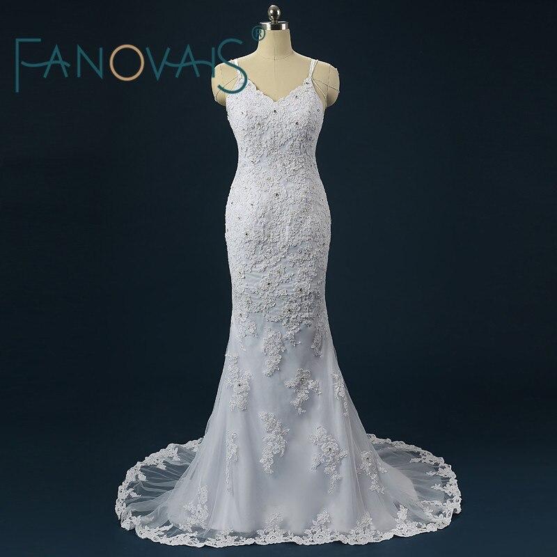 Real Photo Lace Spaghetti Vestido de Noiva Beading Frisada Sexy Backless Vestidos de Casamento 2017 Da Sereia Do Vintage Vestidos de Noiva