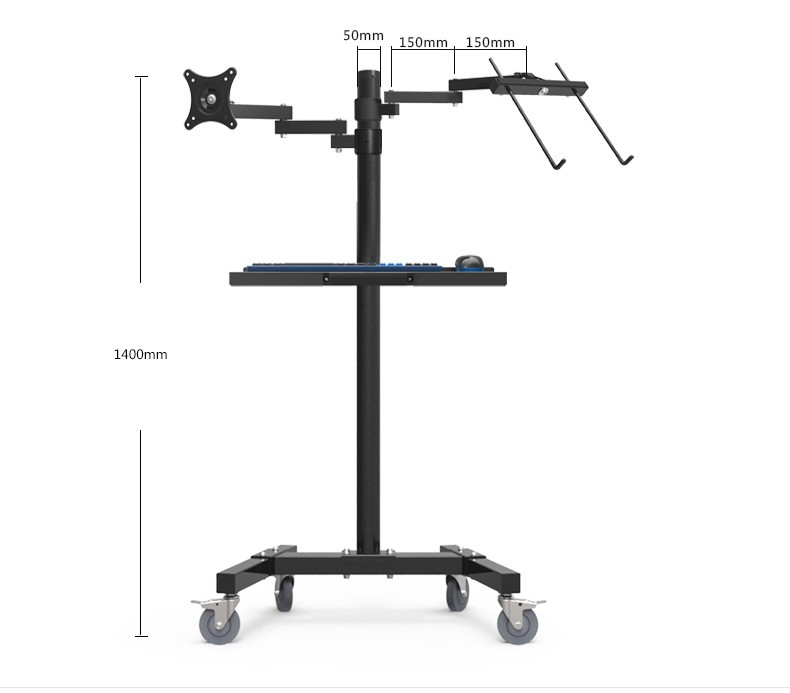 Image 5 - Dual Mount Monitor Holder + Laptop Holder PS Stand Trolley  Sit Stand Work Station Floor Stand Moving Cartmonitor holdermount monitordual monitor holder -
