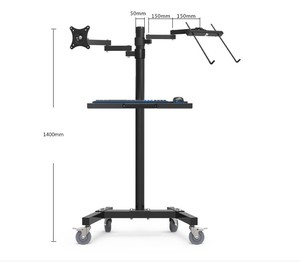 Image 5 - Dual Mount Monitor Holder + Laptop Holder PS Stand Trolley  Sit Stand Work Station Floor Stand Moving Cart