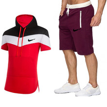 new  mens fashion two-piece t-shirt + shorts suit summer shirt T-shirt printing male