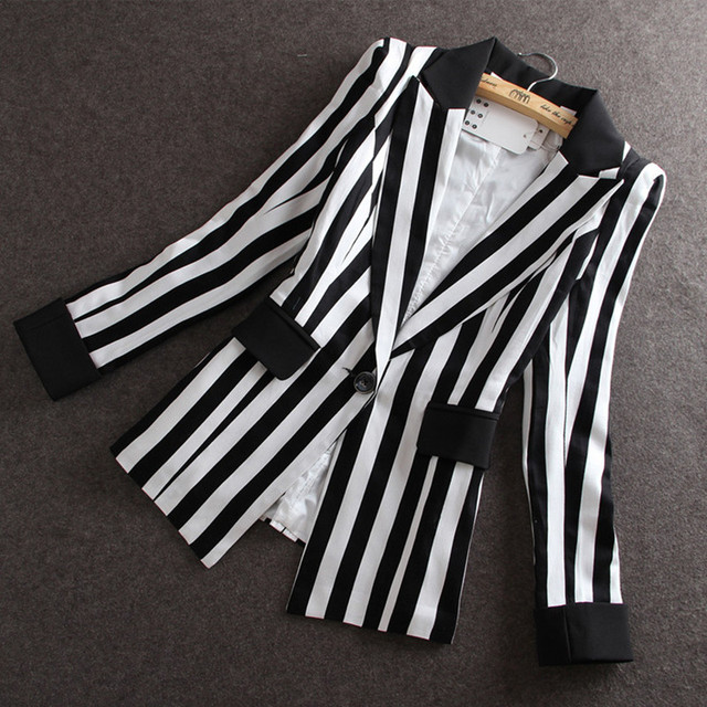 Высокое Качество 2017 Осень новый Корейский Тонкий небольшой пиджак женщины Черно-Белый Полосатый Пиджак feminino Плюс размер M-XXXL ОК
