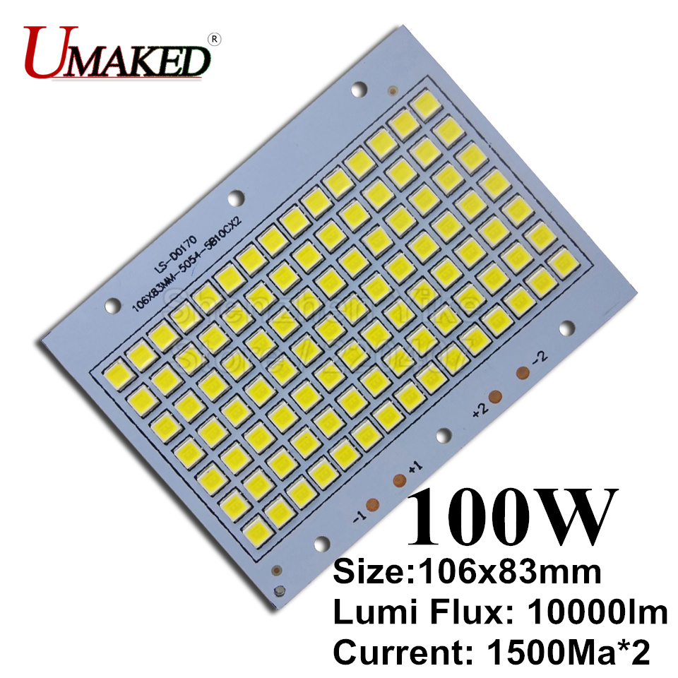 100W 106x83mm 100% Full Power LED Floodlight PCB SMD5054 led board, 10000lm Aluminum plate for led floodlight
