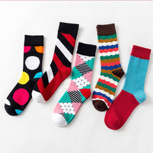 Geometric Stripe Square Dot Stitching Color Happy Men Socks Male Funny Harajuku hip hop Casual Soft