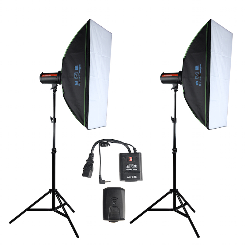 Photo Studio Strobe Flash Light and Softbox Lighting Kit:(2)400W Monolight Flash,(2)Light Stands,(2)Softbox,(1) TriggerCD50